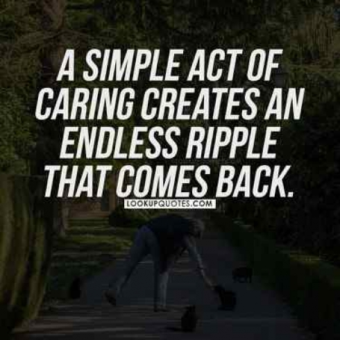 A simple act of caring creates an endless ripple that comes back.