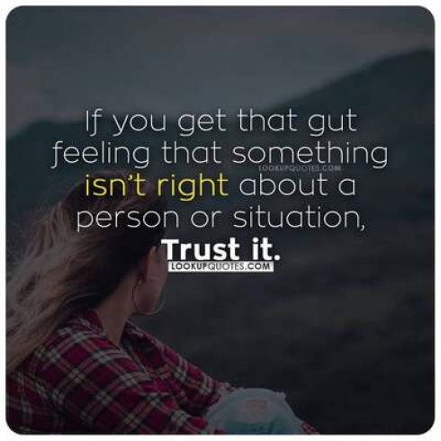 If you get that gut feeling that something isn't right about a person or situation, trust it.