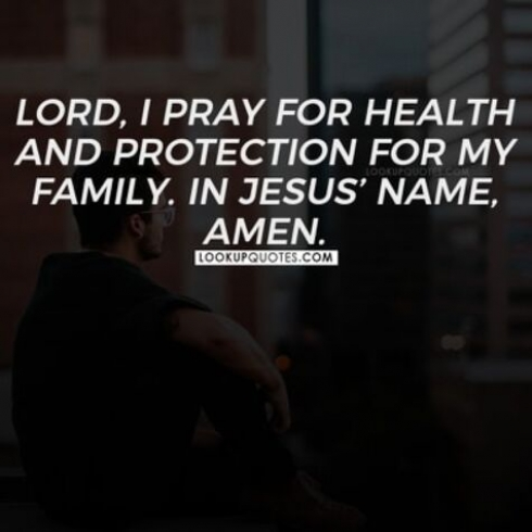 Lord, I pray for health and protection for my family. In Jesus name, Amen.