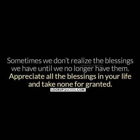 Sometimes we don't realize the blessings we have quotes