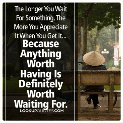 The Longer You Wait For Something, The More You Appreciate It quotes