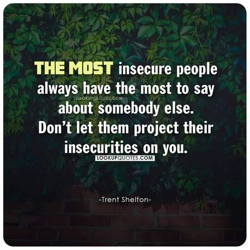 The most insecure people always have the most to say about somebody else. Don't let them project their insecurities on you.