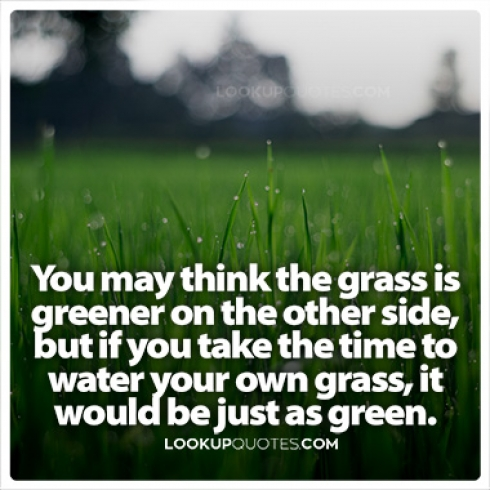 You may think the grass is greener on the other side, but if you take the time to water your own grass, it would be just as green.